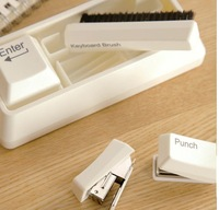 30Pcs/Lot Keyboard Stationaries Set, Stapler+ Punch+Keyboard Brush+Paper Clips Magnet