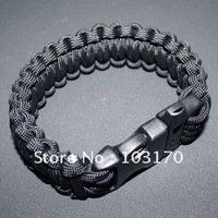Free Shipping FEDEX Camping Paracord Bracelet Handmade Survival Whistle buckle with Plastic Buckle 50pcs/lot