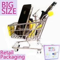 EMS Free Shipping 10pcs/lot  mini replica trolley Mini Shopping Cart Desk Organizer Retail Packaging