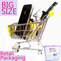 Free shipping 10pcs/lot  mini replica trolley Mini Shopping Cart Desk Organizer Retail Packaging