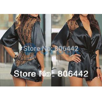 5Pcs/Lot Ladies Black Satin Lace Sexy lingerie/costumes/underwear Sleepwear Robe Free Shipping 2016