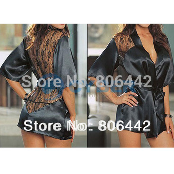 5Pcs/Lot Ladies Black Satin Lace Sexy lingerie/costumes/underwear Sleepwear Robe Free Shipping