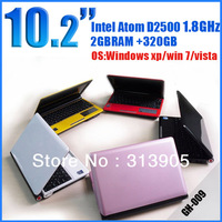 DHL EMS Freeshipping 10.2 inch notbook pc Intel Atom D2500 1.8Ghz Memory 2GB HDD 320GB wifi  webcamera cheap laptop