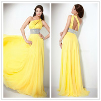 2014 New Fashion Free Shipping Designer Long Dress Crystal Belt One Shoulder Chiffon Yellow Evening Dresses OL12010