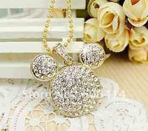 retail genuine2G 4G 8G 16G 32G jewelry mickey head necklace shape usb flash drive pen drive memory stick drop free shipping(China (Mainland))