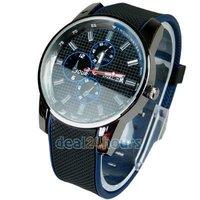 Free Shipping Men Boys Unisex Sports Cool Dial Quartz Japan Movement Band Wristwatch Blue Wholesale/Retail