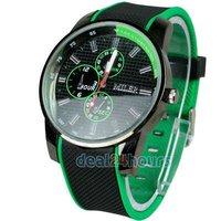 Free Shipping Men Boys Unisex Sports Cool Dial Quartz Japan Movement Band Wristwatch Green Wholesale/Retail