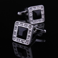 Freeshipping 4 Pairs/Lot Luxury Gentalmen Plating White Steel Inlaid Crystal Cufflinks with Luxury Box
