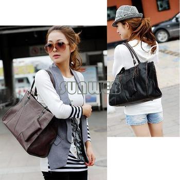 2014 Fashion Women's free shopping New Faux Leather Tote Shoulder Bags Handbag  3365