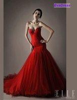 2012 Mermaid Sleeveless Sweetheart Beading Court Train Organza Long Backless Sexy Red Prom Dress