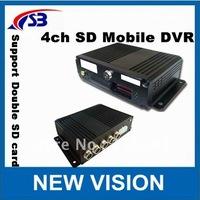 Free Shipping !!!!4ch SD Card Mobile DVR, 4 CH Vehicle DVR,4 CH Car DVR support 2pcs sd card 2*64G