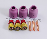 TIG KIT Gas Lens Collet Bodies,Alumina Nozzle Fit TIG Torch WP SR DB 9 20 25,9PK