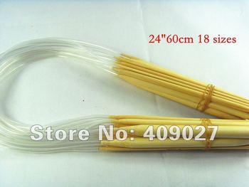 "18 Sizes 2.0-10mm 24"" 60cm Circular Bamboo Knitting Needles free shipping"