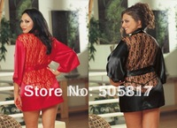 2 color Plus size M XL XXL big size Sexy satin robe lingerie bathrobe Women lace evening chemise sexy nightwear red black KC348