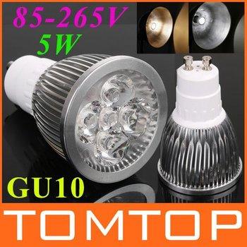 GU10 LED Bulb lamp 85~265V 5W 500-550LM led Spotlight White/Warm white led lamp free shipping