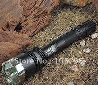 free shipping 1600 LUMEN high power flashlight contain double charger+2pc 18650 battery+gift box