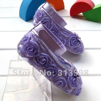 12cm or 11cm Purple Mary Jane Infant Baby  First Walker Shoes Girls Toddler dress soft sole Rose flower  36PKPS 36PLRS