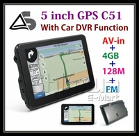5 inch high digital GPS DVR with AV-IN and 4GB flash free map