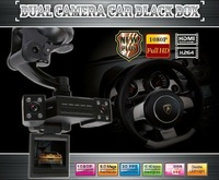 "FREE shipping  HD1080P dual camera 2.0""LCD car black box,4 IR LED,lens140 Deg,motion trigger,car driving recorder camera"