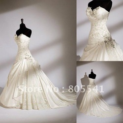 100% Real Photo Gorgeous A-line Sweetheart Satin Cheap Lace Wedding Dress with Embroidery Design WDD-105(China (Mainland))