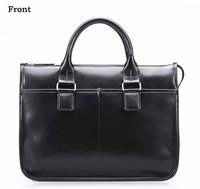 "FREE SHIP-Wholesale Men's Grain Leather Black Shoulder Bag Messenger Bag 14""&15""Laptop Briefcase M063#"
