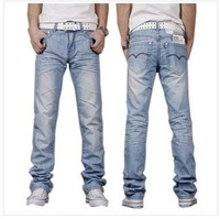 Free shipping 2013 hot promotion Fashionable men's jeans color light blue men Denim pants/trousers wholesale ,size 28--38