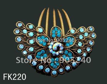 Vintage fashion Women's elegant flower pattern rhinestone alloy hair combs hair accessories hair clip ,Free shipping FK220