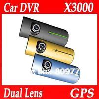 "Car camera recorder with GPS logger G-Sensor Dual Lens front and back 2.7""LCD car black box Free shipping Car DVR X3000"