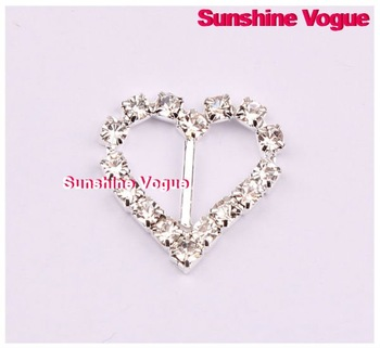 Rhinestone buckle,heart shape crystal buckles 21mm,100pcs/lot, CPAM free, shine buckle full of glossy crystal for wedding ribbon