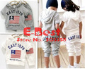 [E-Best]  5 sets Gray/White Flag EAST 1978 baby summer clothing sets cotton hooded T-shirts+ short pants kids wear E-SSW-012