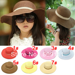 Hot style Baby girl straw sun hats sunhats for kids wide brim beach hat Children caps 10pcs BH510(China (Mainland))