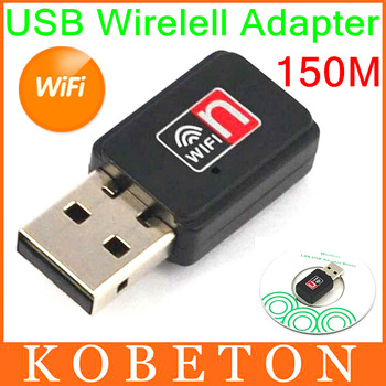 20pca/lot New 150Mbps Mini USB WiFi Wireless Adapter 150M Network LAN Card 802.11 n / g / b, Free Drop Shipping