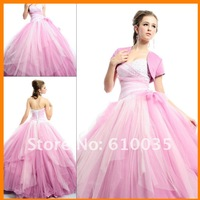 2012 Beautiful Sweet 16 Prom Ball Party Gown Sexy Sweetheart  Full-length Pink Organza Beaded  Quinceanera Dresses with Jacket