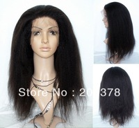 """kinky straight 1b Off Black Indian Remy Hair front Lace wig 8""""-24""""Wigs free shipping"""
