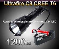 5pcs/lot,UltraFire C8 CREE XML T6  5-Mode 1200 Lumen LED Flashlight Torch+1*3000mah battery+charger