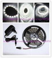12v 2A power adaptor + white 5m 300 leds 60 leds/meter Flexible 3528 SMD LEDS strip light Non-waterproof + LED Connection plug