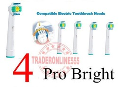 Free Shipping Pro bright soft bristle electric toothbrush Heads For Wholesale 4pcs/pack(China (Mainland))
