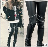 Women's Faux Leather Leggings Fashion Knee Three Zippers Decorate Pencil Pants Black Skinny Legging LG-016