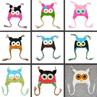 14 styles ! Free Shipping Cartoon Designs 100% Handmade Children Owl Crochet Hat Baby Animal Beanie hat