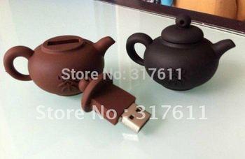 Free Shipping 10pcs/lot Chinese teapot 1GB 2GB 4GB teapot USB Flash Drive Cute PVC Thumbdrive Free packing