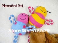 2Pcs New  Dog Toys  Puppy Chew Toys  Honeybee,Ladybird   Rope Stuffed Soft Pet Dog Toys  with Sound  Free  Shipping