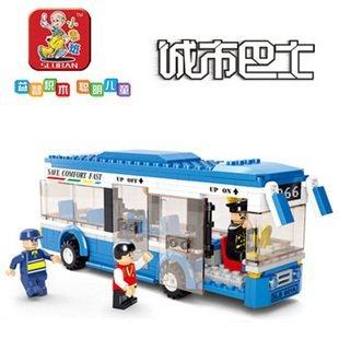 SLUBAN little small luban New creative plastic toy bricks puzzle blocks city bus single-deck buses