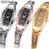 JSDUN Brand Luxury Tungsten Steel Bracelet Watch CZ Diamond Sapphire Japan Movement Women Dress Watches Quartz Wristwatch 6530