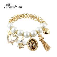 Heart Leopard Rhinestone Imitation Pearl Tassel Charm Bracelets Bangles Gold Color Alloy New 2014 Designer Pulseiras Femininas(China (Mainland))