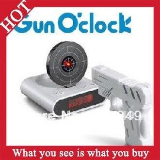 1pc New 2014 Novelty Led Digital Gun Alarm Clock Shoot Target Clocks Gadget Toy -- CLK07 Wholesale