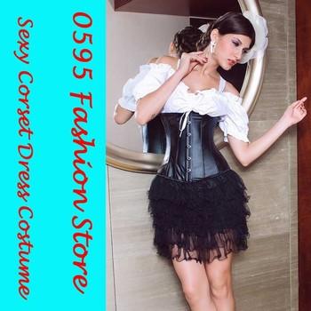 Black Faux Leather Waist Cincher Underbust Corsets Shapewear (S-2XL) +G-string    HL5109