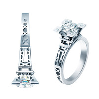 Free Shipping 1 CT 6.5mm French Champs Elysees Kiss Paris Eiffel Tower 925 Sterling Silver Women Crystal Engagement Wedding Ring