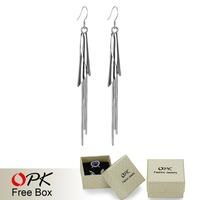 OPK JEWELRY Free Shipping Silver Jewelry Original Brand factory promotion antique Dangle long earrings fashion long earring 947