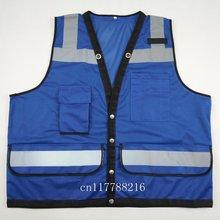 Blue Safety Vest Hi Vis Reflective Vest-Size XS S M L XL 2XL 3XL 4XL(China (Mainland))