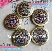 Wholesale 10pcs/lot New Fretwork Design Portable Beauty Cosmetic Pocket Compact Bronze Metal Makeup Mirror Gift